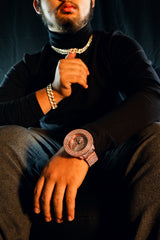 3 Rings Rose Gold Ice Out Techno KING Watch