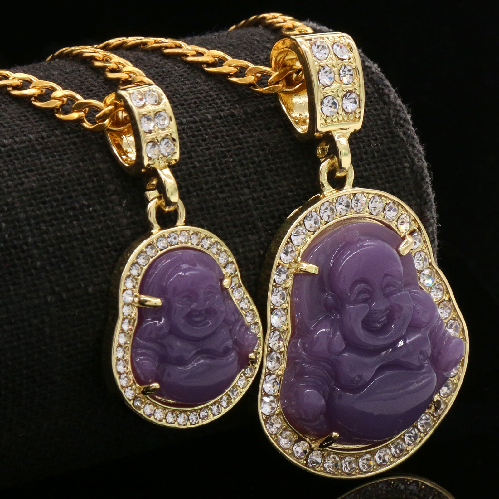 "4pcs L Purple Buddha Pendants 3mm 24 x 30"" Gold SST Cuban Chain"