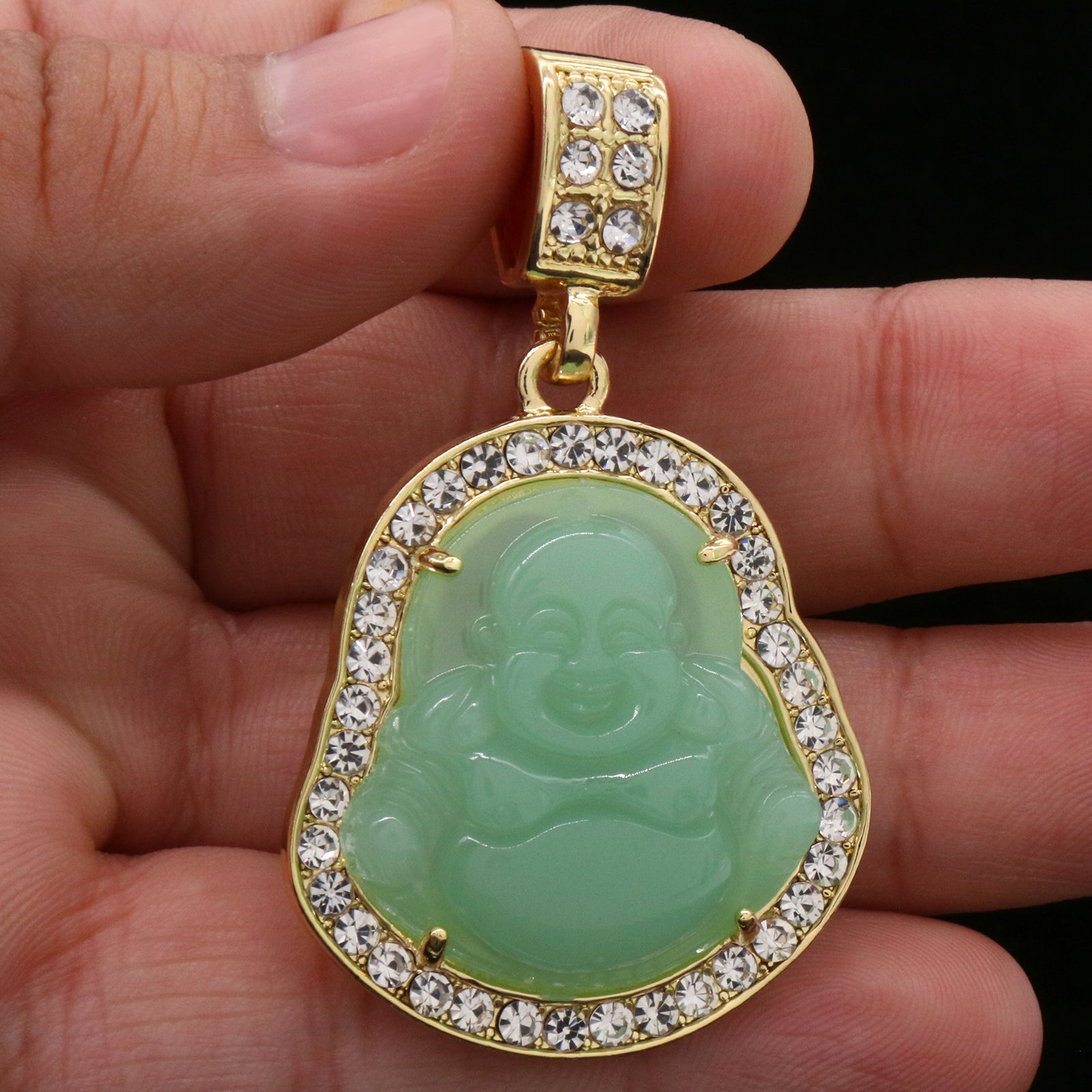 "Light Green Buddha Pendant w/ 3mm 24"" SST Cuban Chain"