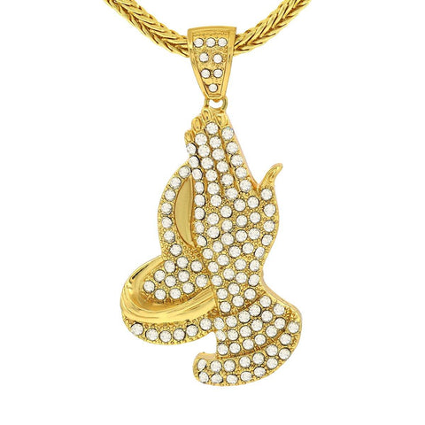 14k Gold Filled Prayer Hand Pendant with Franco Chain