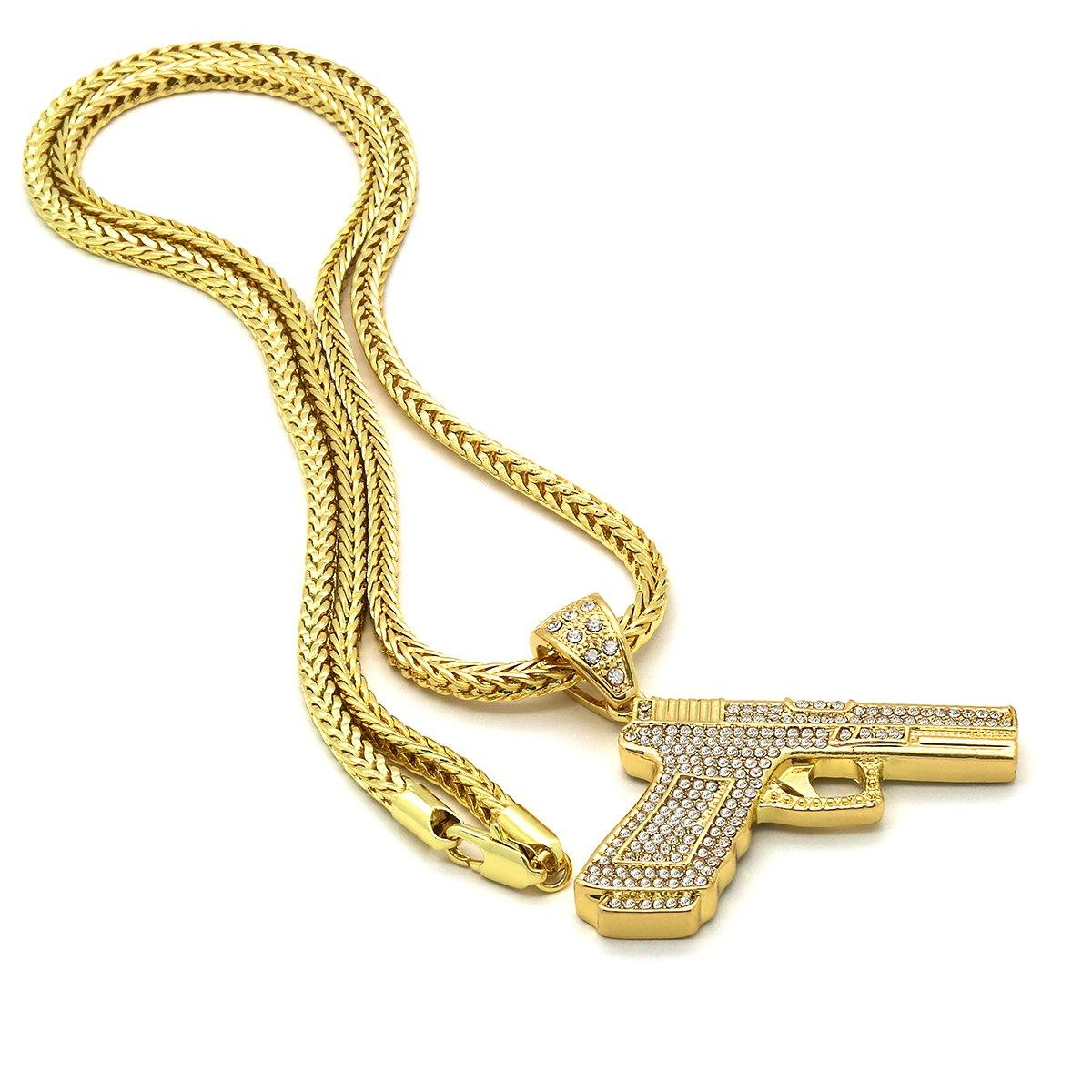 14k Gold Filled Hand Gun Pendant with Franco Chain