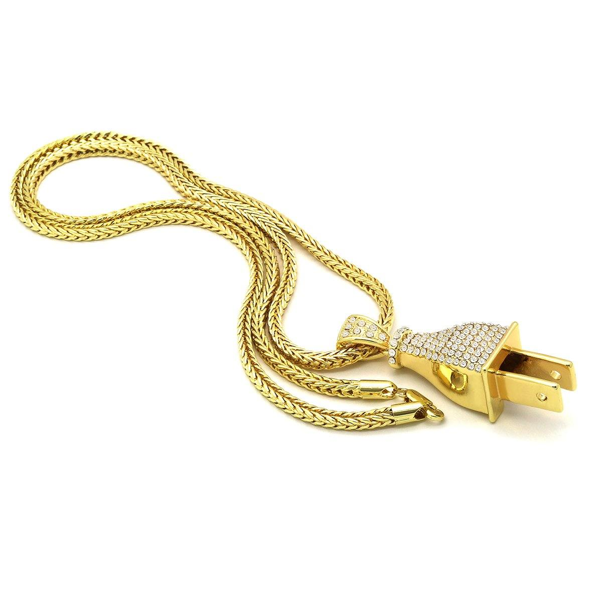 14k Gold Filled Cz Plug Pendant with Franco Chain