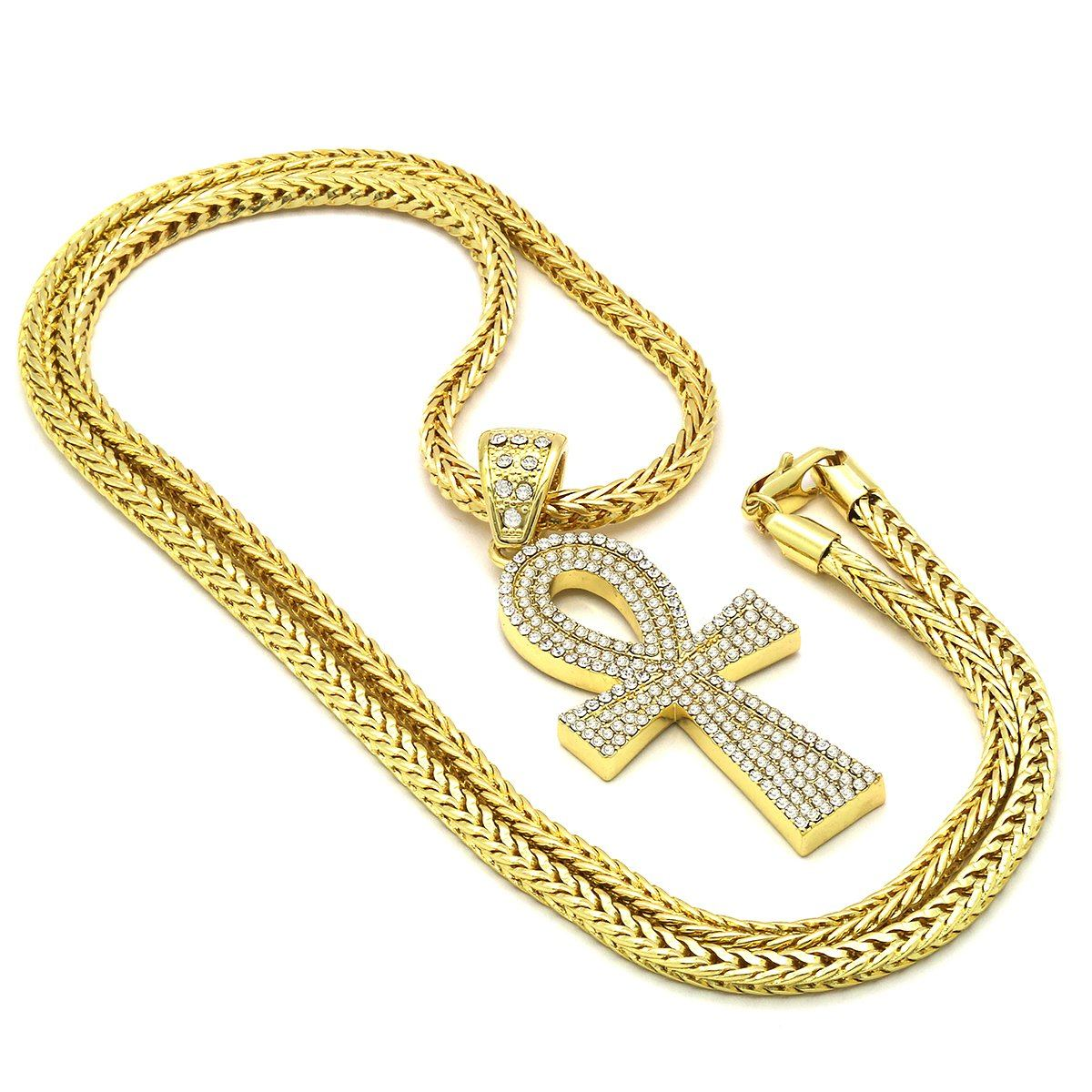 14k Gold Filled Ankh Cross Pendant with Franco Chain