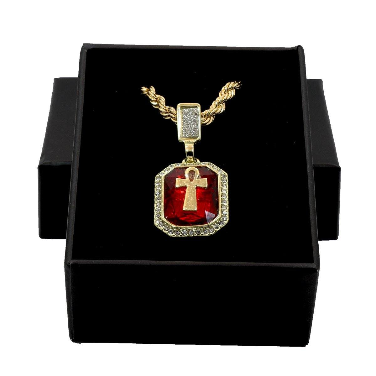 RED RUBY ANKH CROSS PENDANT WITH GOLD ROPE CHAIN