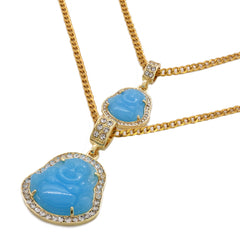 "4pcs L Blue Buddha Pendants 3mm 24 x 30"" Gold SST Cuban Chain"