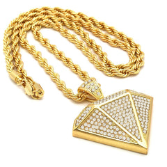 14k Gold Filled Diamond Pendant with Rope Chain