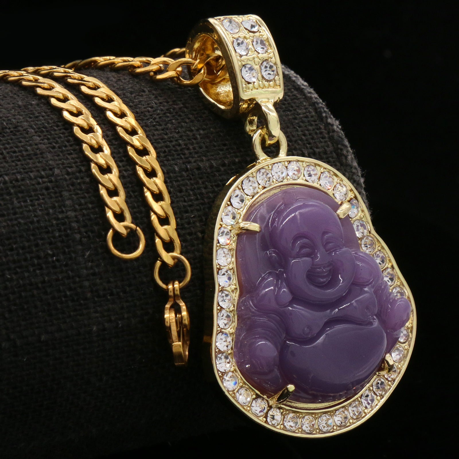 "Light Purple Buddha w/ 3mm 24"" SST Cuban Chain"