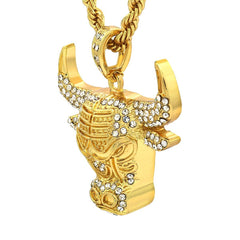 14k Gold Filled Bulls Pendant with Rope Chain