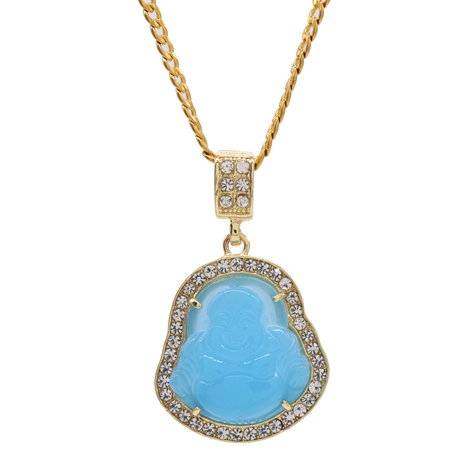 "Light Blue Buddha Pendant w/ 3mm 24"" SST Cuban Chain"