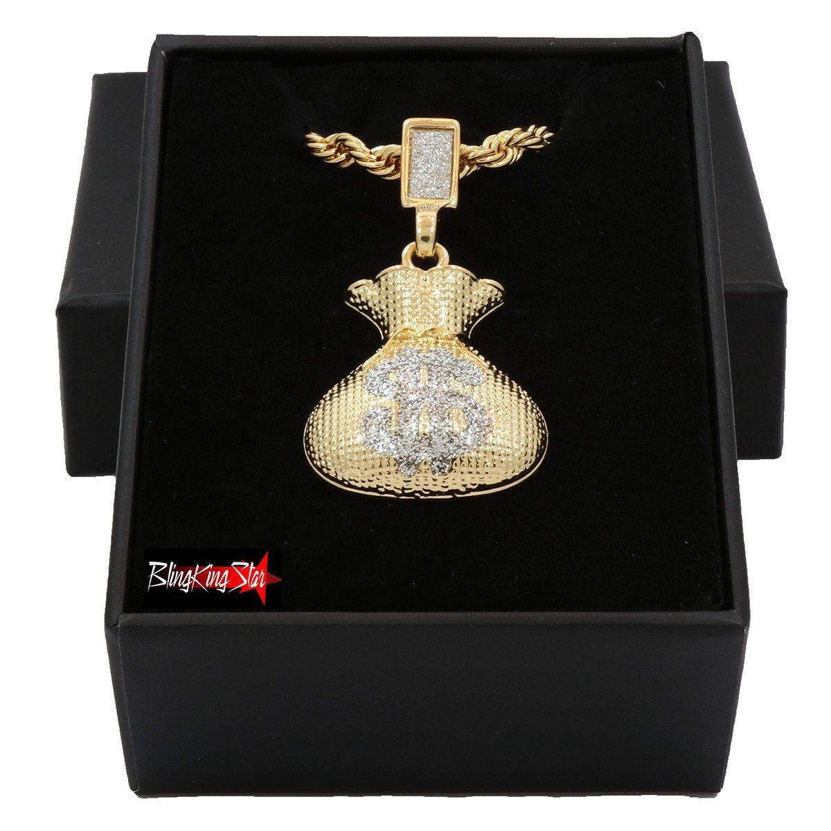 MONEY BAG PENDANT WITH GOLD ROPE CHAIN