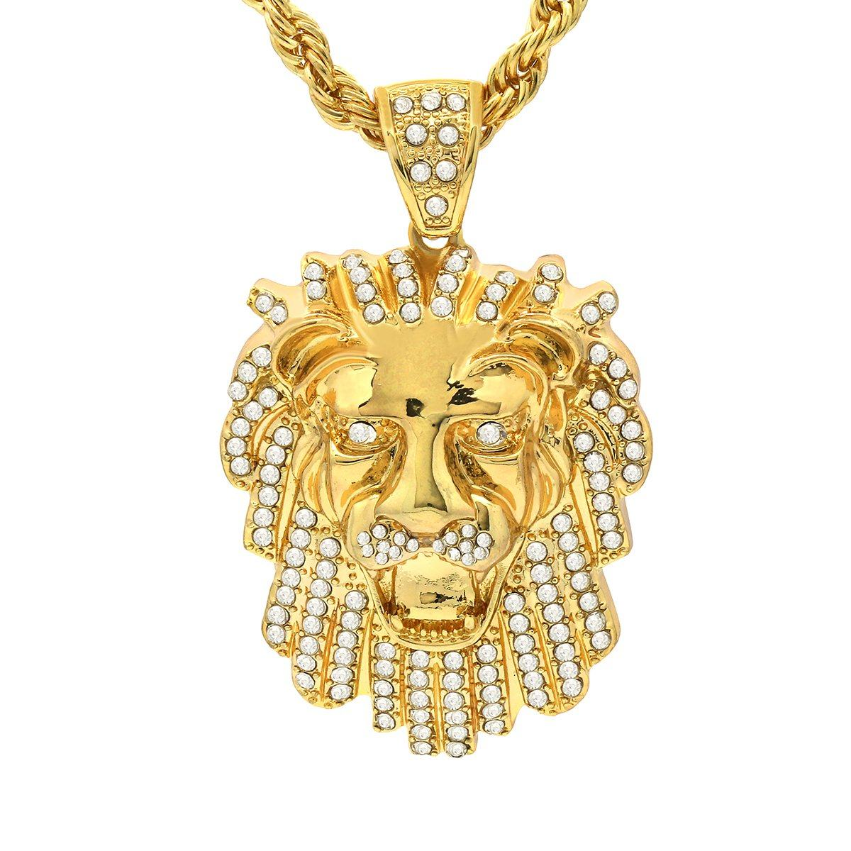 14k Gold Filled Lion Pendant with Rope Chain