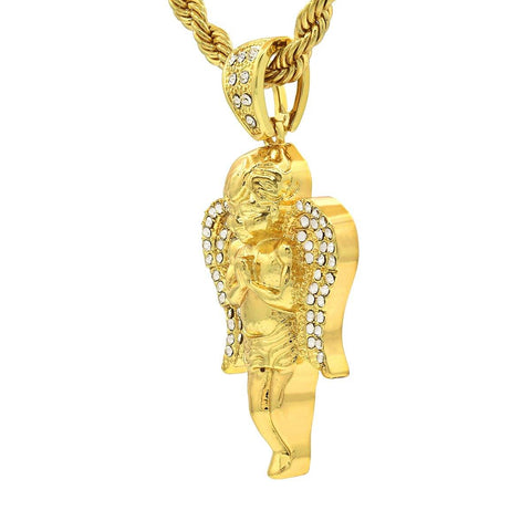 14k Gold Filled Angel Prayer Pendant with Rope Chain