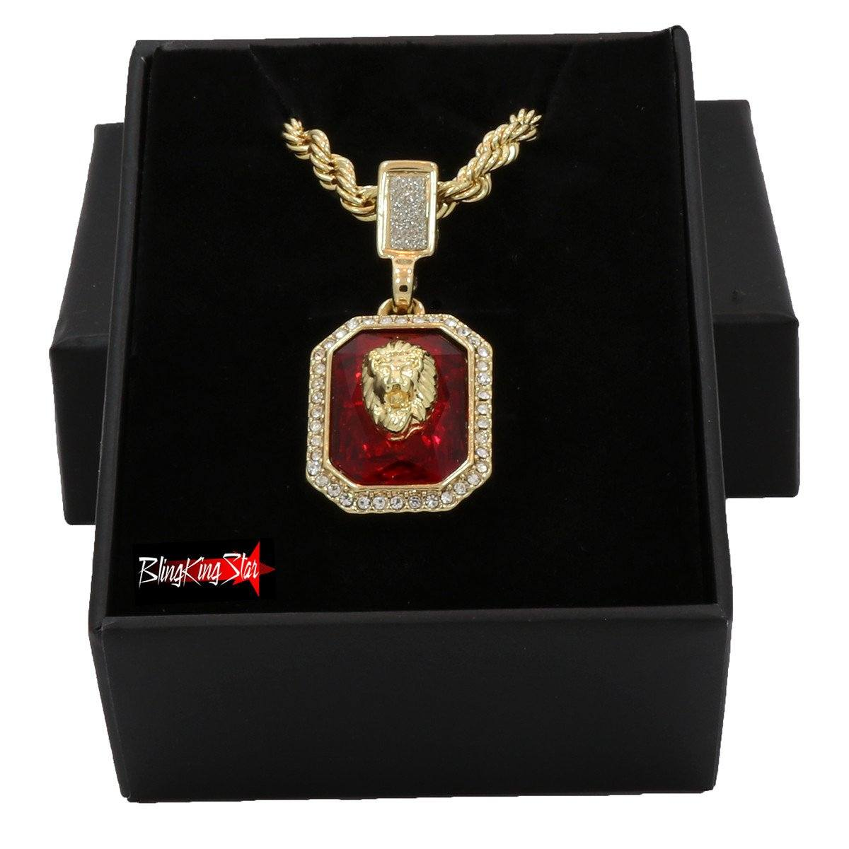 RUBY LION PENDANT WITH GOLD ROPE CHAIN