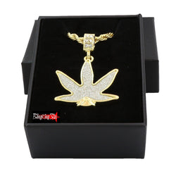 MARIJUANA STARDUST PENDANT WITH GOLD ROPE CHAIN