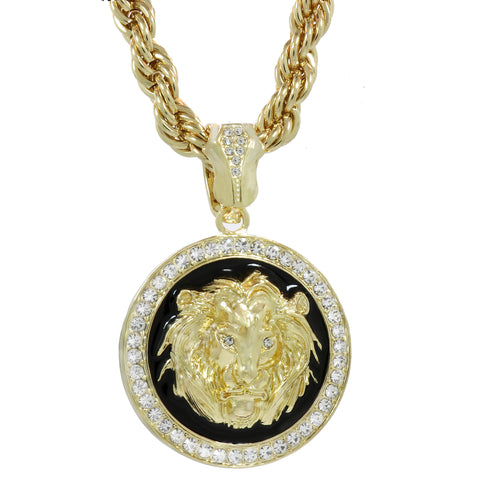 The Lion Coin Necklace Gold/Blk