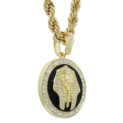The Pharaoh Coin Necklace Gold/Blk