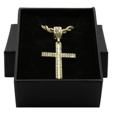 2LINE CROSS PENDANT WITH GOLD ROPE CHAIN