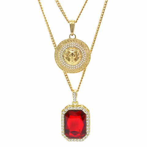 RED RUBY AND LION DOUBLE  PENDANT WITH CUBAN CHAIN