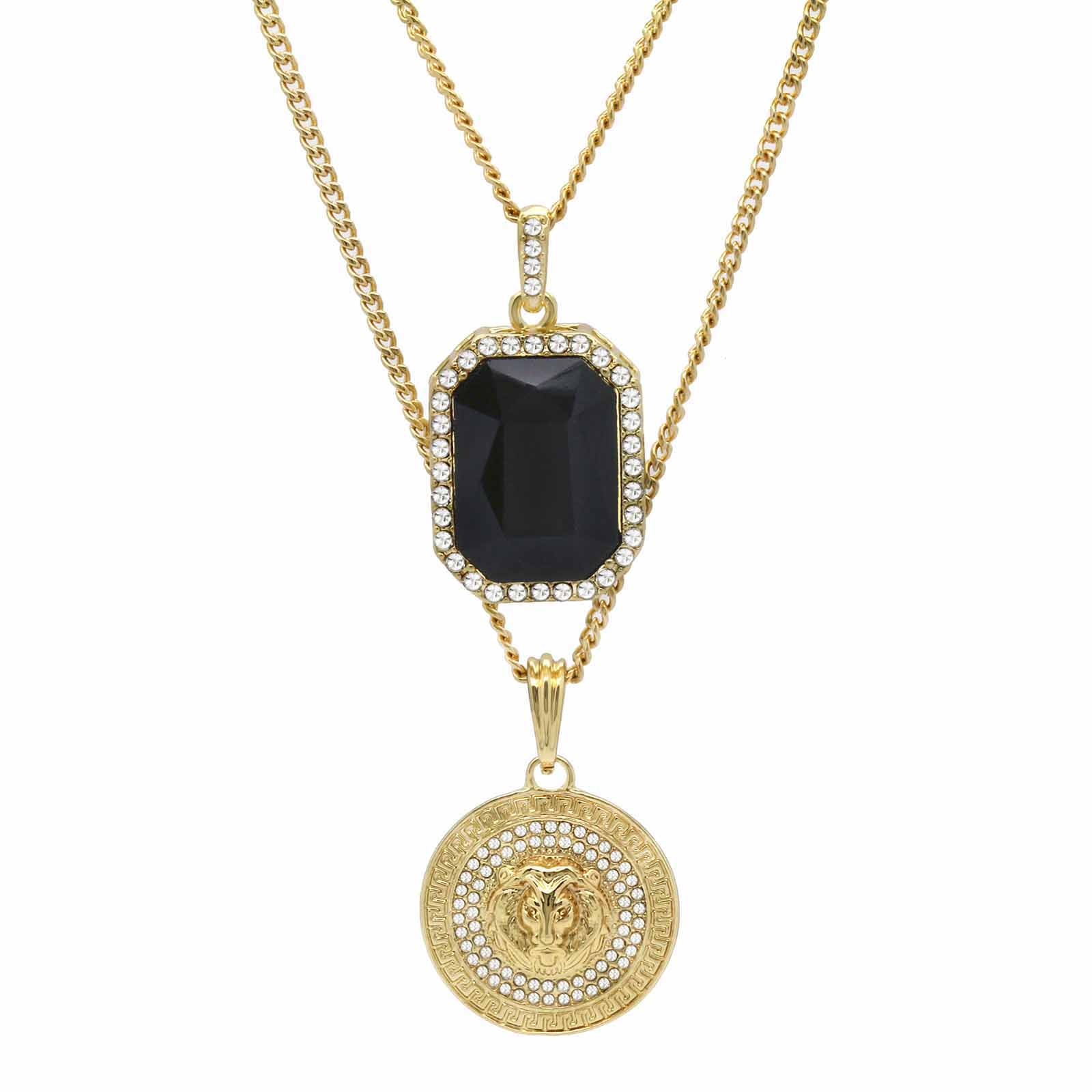 BLACK ONYX AND LION DOUBLE  PENDANT WITH CUBAN CHAIN