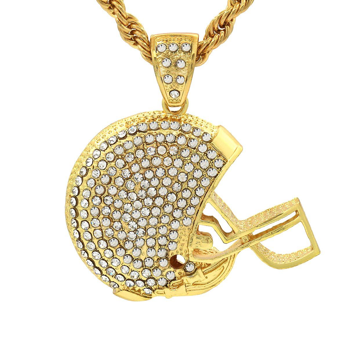 14k Gold Filled NFL Helmet Pendant with Rope Chain