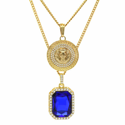 BLUE SAPPHIRE AND LION DOUBLE  PENDANT WITH CUBAN CHAIN