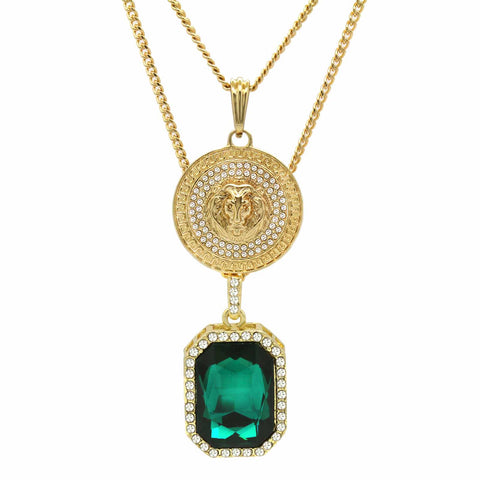 GREEN EMERALD AND LION DOUBLE  PENDANT WITH CUBAN CHAIN