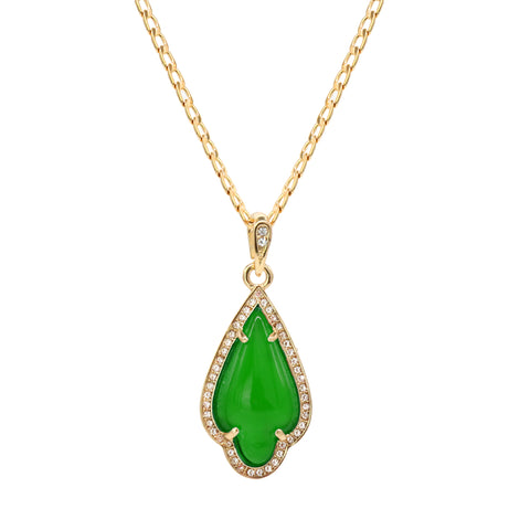 Green Curved Tear Women's Jade Chain Pendant Necklace