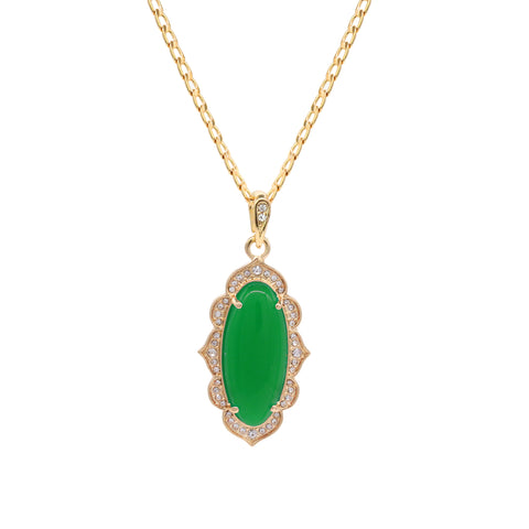 Green Oval Women's Jade Chain Pendant Necklace
