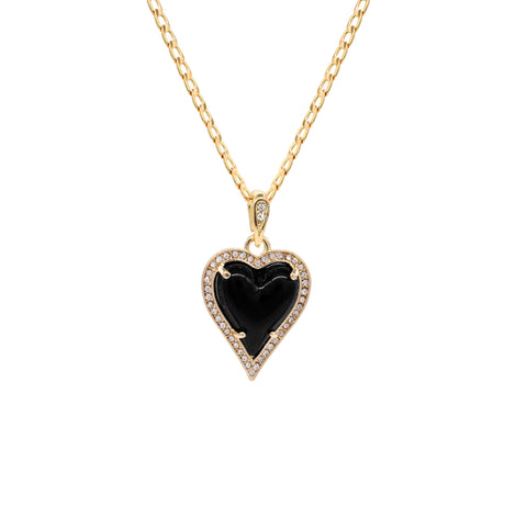 Black Heart Women's Jade Chain Pendant Necklace