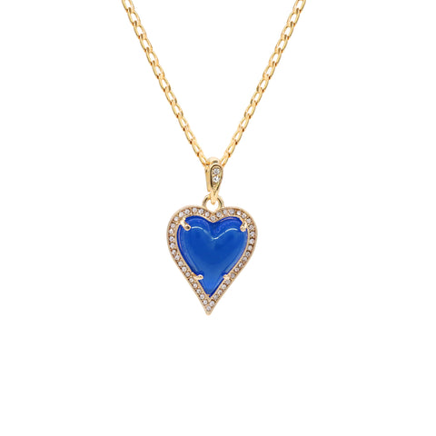 Blue Heart Women's Jade Chain Pendant Necklace