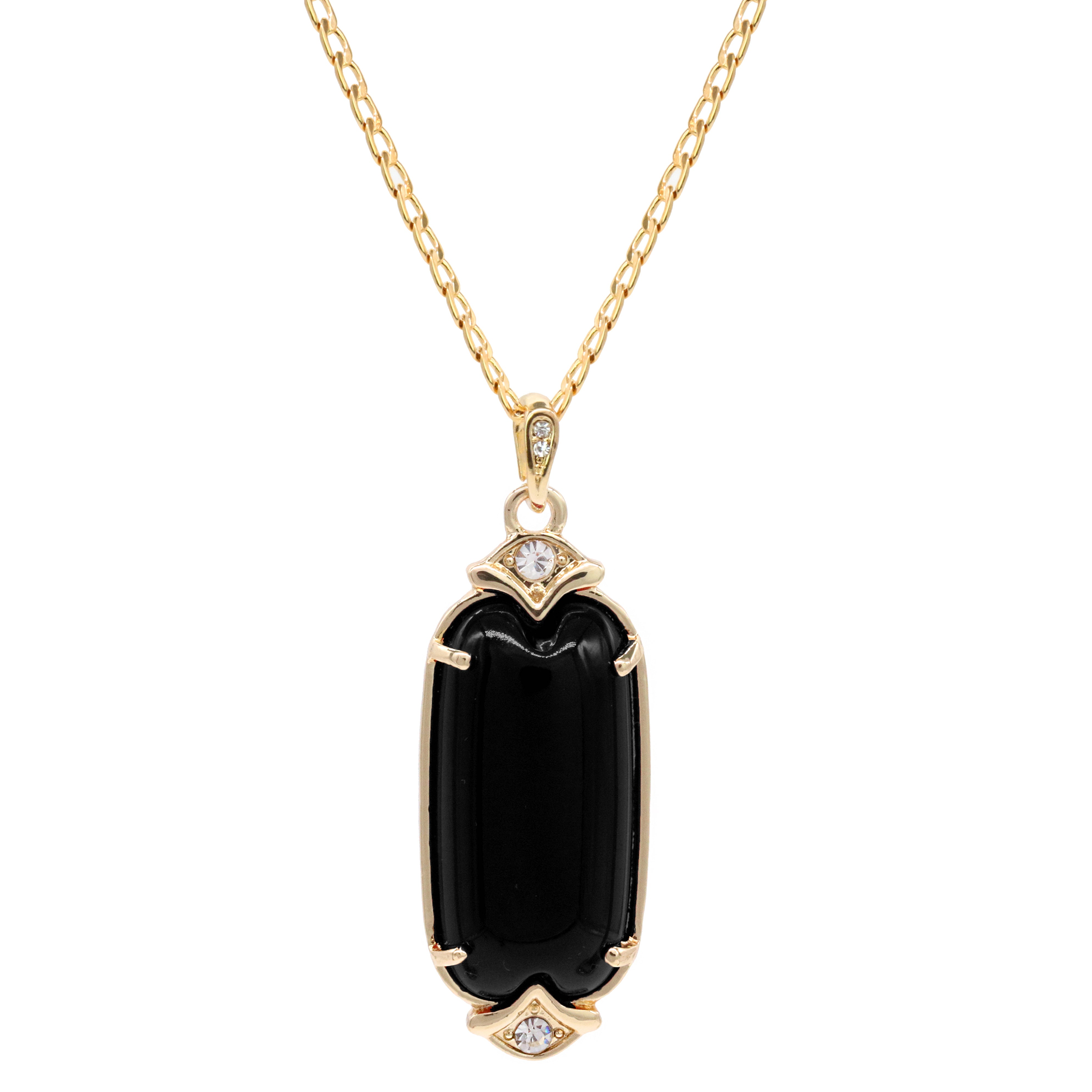 Black Cylinder Women's Jade Chain Pendant Necklace