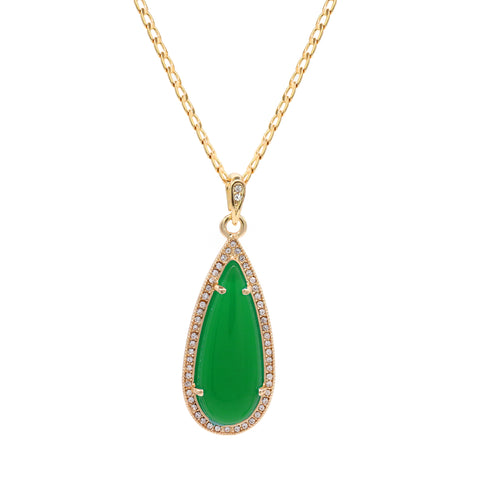 Green Tear Women's Jade Cuban Chain Pendant Necklace