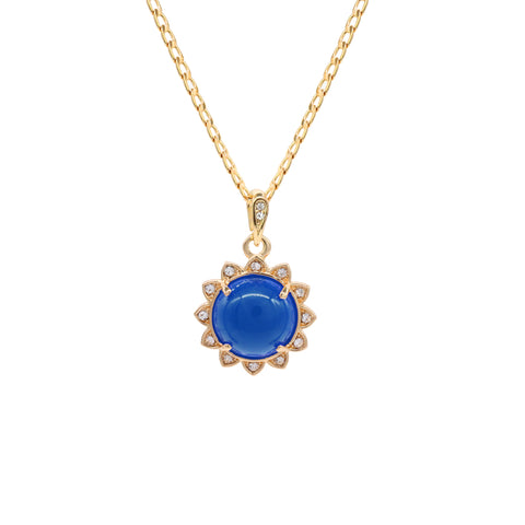 Blue Round Women's Jade Chain Pendant Necklace
