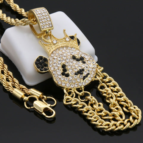"Cz Panda Crown Pendant 24""Inch 4mm Rope Chain"