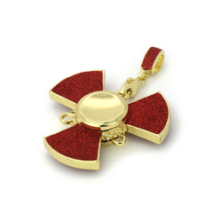 "14k Gold/Red Plated Fidget Spinner Pendant with 24"" Cuban Chain"