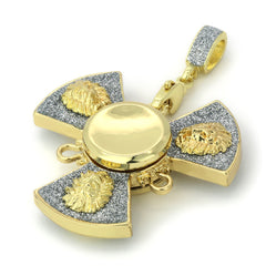 "14k Gold/Silver Plated Lion Fidget Spinner Pendant with 24"" Box Chain"