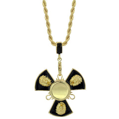 "14k Gold/Black Plated Lion Fidget Spinner Pendant with 30"" Rope Chain"
