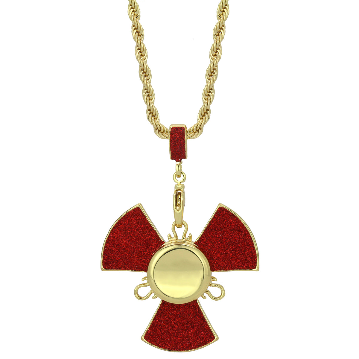 "14k Gold/Red Plated Fidget Spinner Pendant with 24"" Rope Chain"