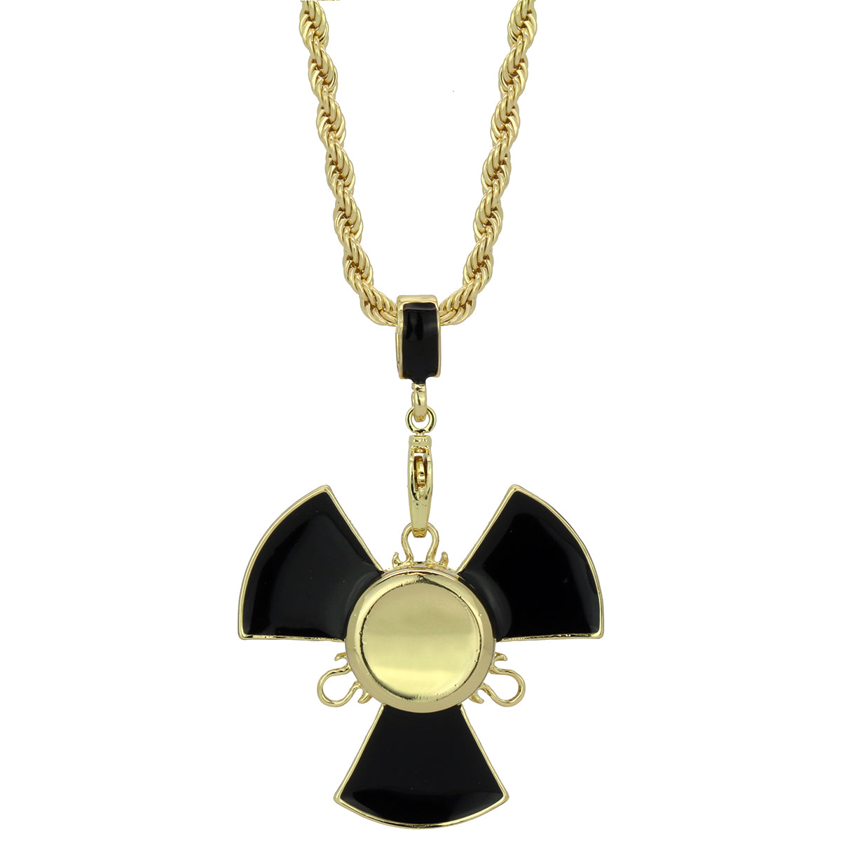 "14k Gold/Black Plated Fidget Spinner Pendant with 30"" Rope Chain"