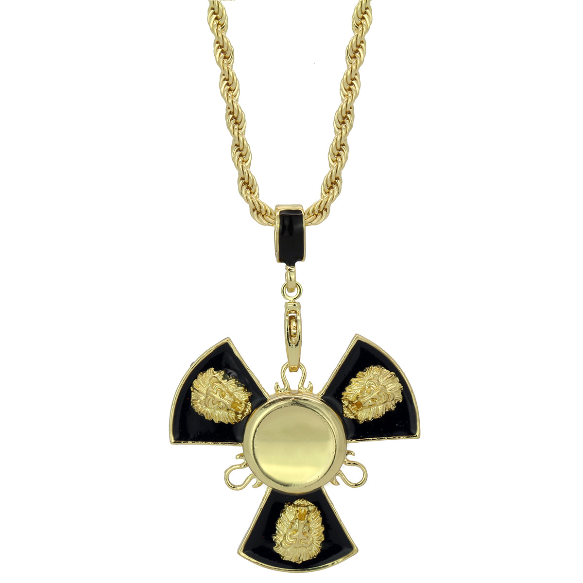 "14k Gold/Black Plated Lion Fidget Spinner Pendant with 24"" Rope Chain"