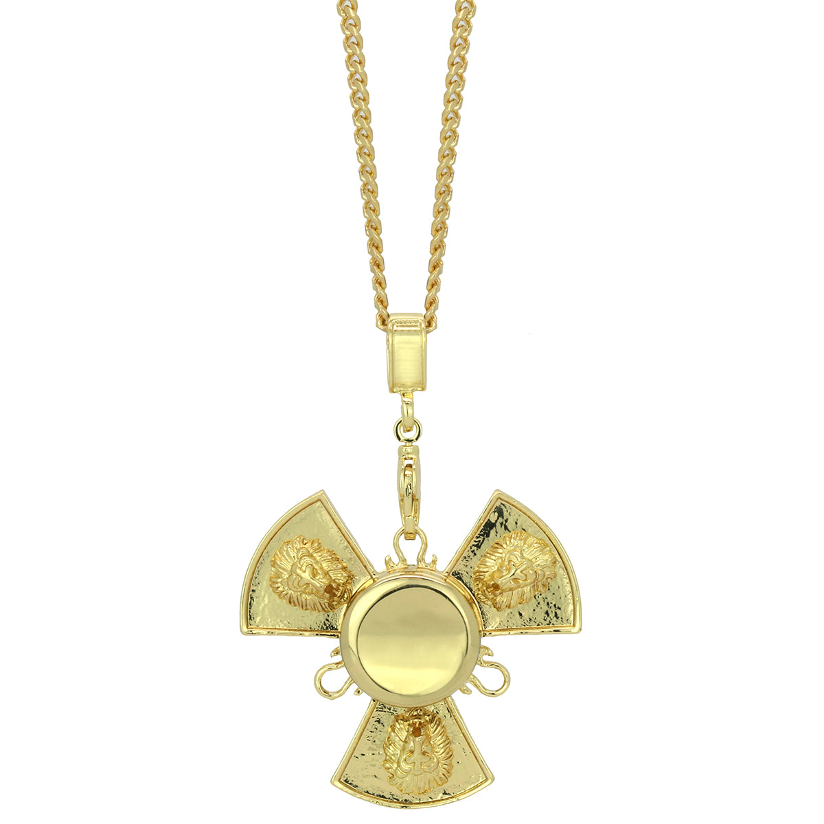 "14k Gold Plated Fidget Spinner Pendant with 24"" Cuban Chain"