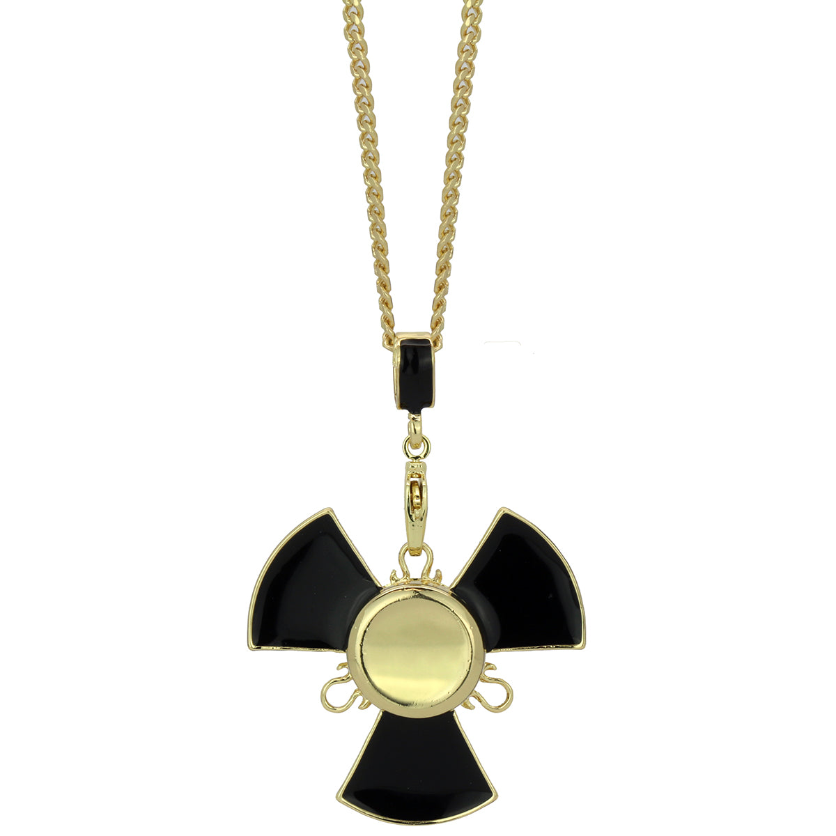 "14k Gold/Black Plated Fidget Spinner Pendant with 24"" Cuban Chain"