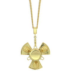 "14k Gold Plated Fidget Spinner Pendant with 30"" Cuban Chain"