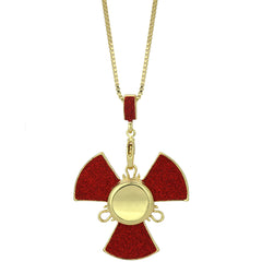 "14k Gold/Red Plated Fidget Spinner Pendant with 24"" Box Chain"