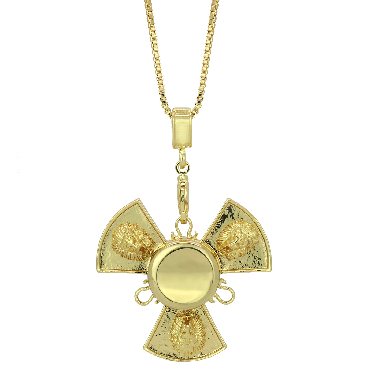 "14k Gold Plated Fidget Spinner Pendant with 30"" Box Chain"