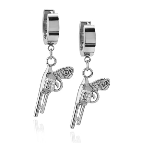 Revolver Hoop Earring White Gold Stainless Steel
