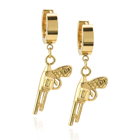 Revolver Hoop Earring Gold Stainless Steel