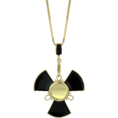 "14k Gold/Black Plated Fidget Spinner Pendant with 24"" Box Chain"