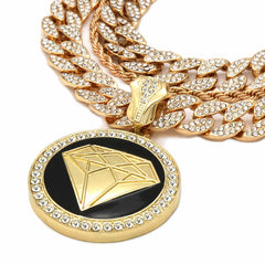 2 CUBAN CHAIN GOLD/BLACK DIAMOND