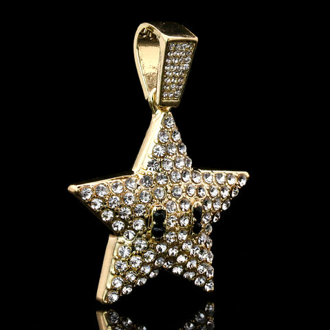 "Star Fully Iced Pendant 14K Gold 24"" Inch 4mm Rope Choker Chain"